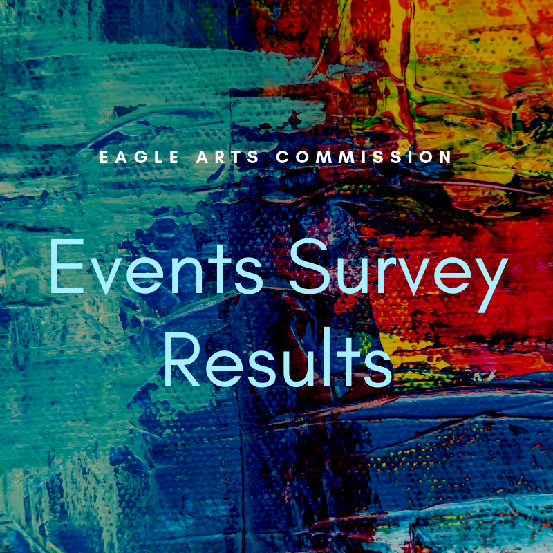 Image says &#34Eagle Arts Commission events survey results&#34 over an abstract multicolored backgro