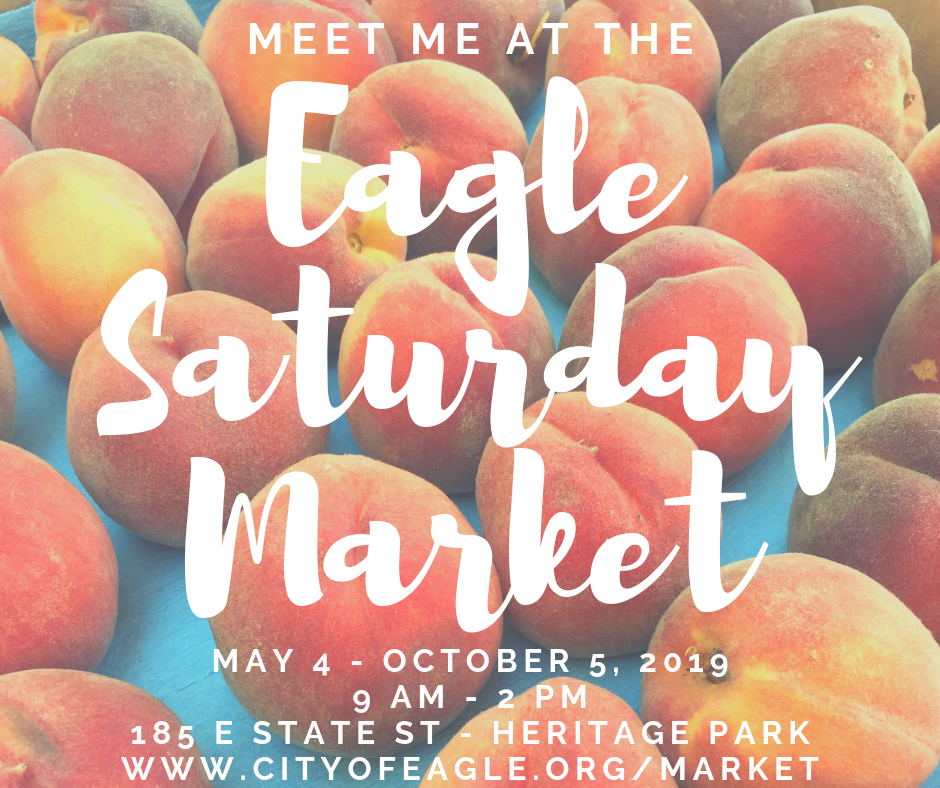 "Image says ""Eagle Saturday Market"" over an background of peaches"