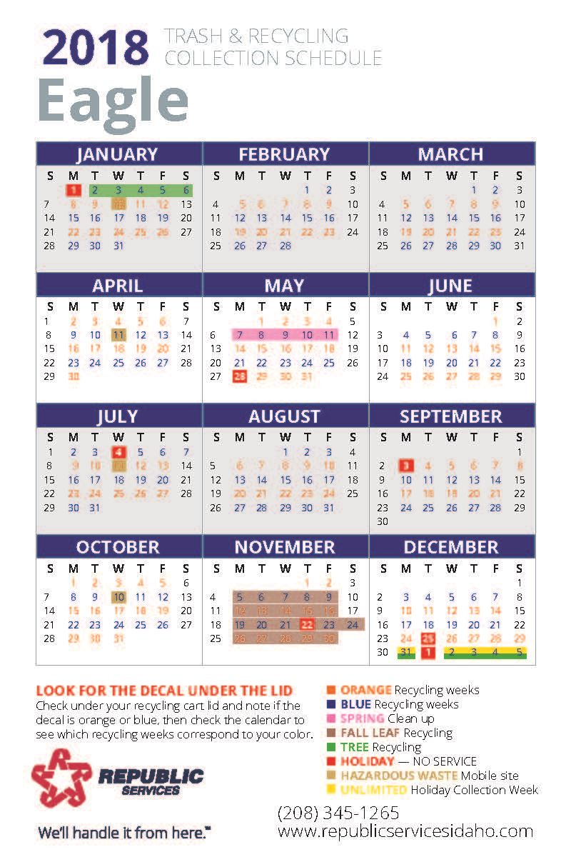 2018 Eagle Republic Trash and Recycling Collections Calendar (PDF)