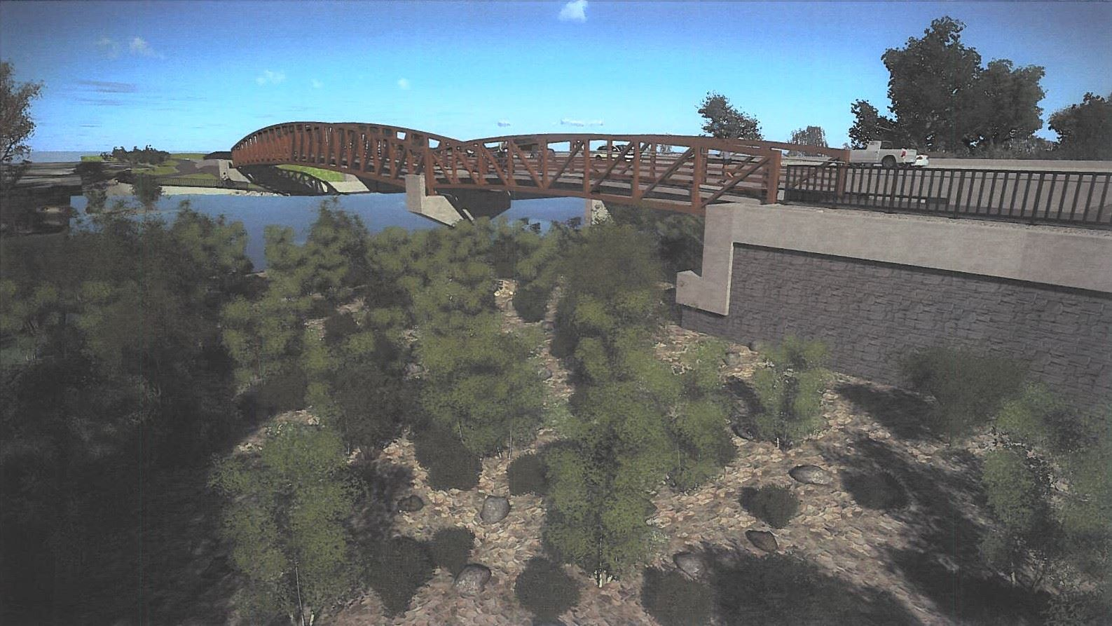 Concept art of the Eagle Road Pedestrian/Bike Bridge over the Boise River
