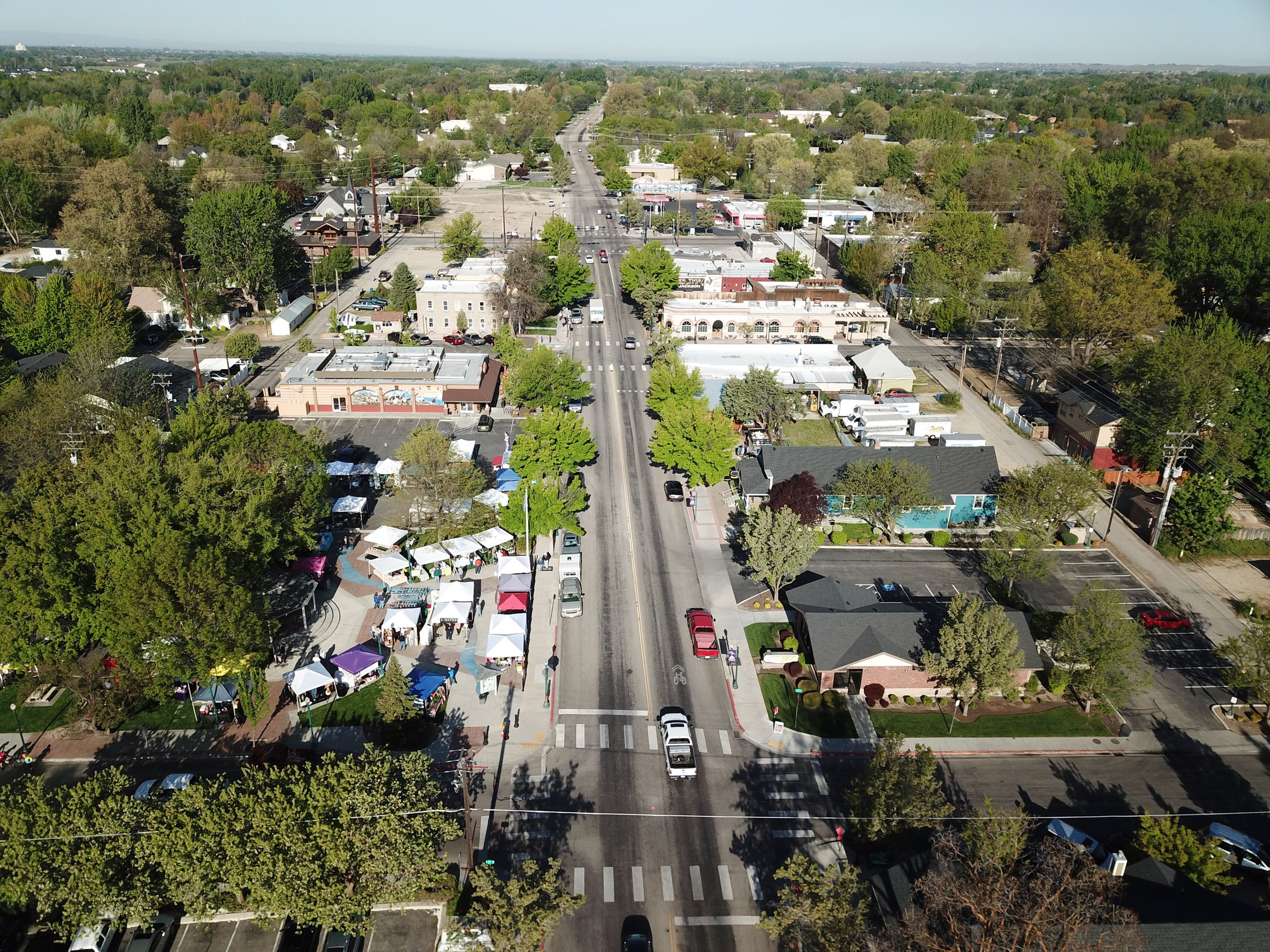 An aerial view of State Street, Second Avenue, and the Eagle Saturday Market.
