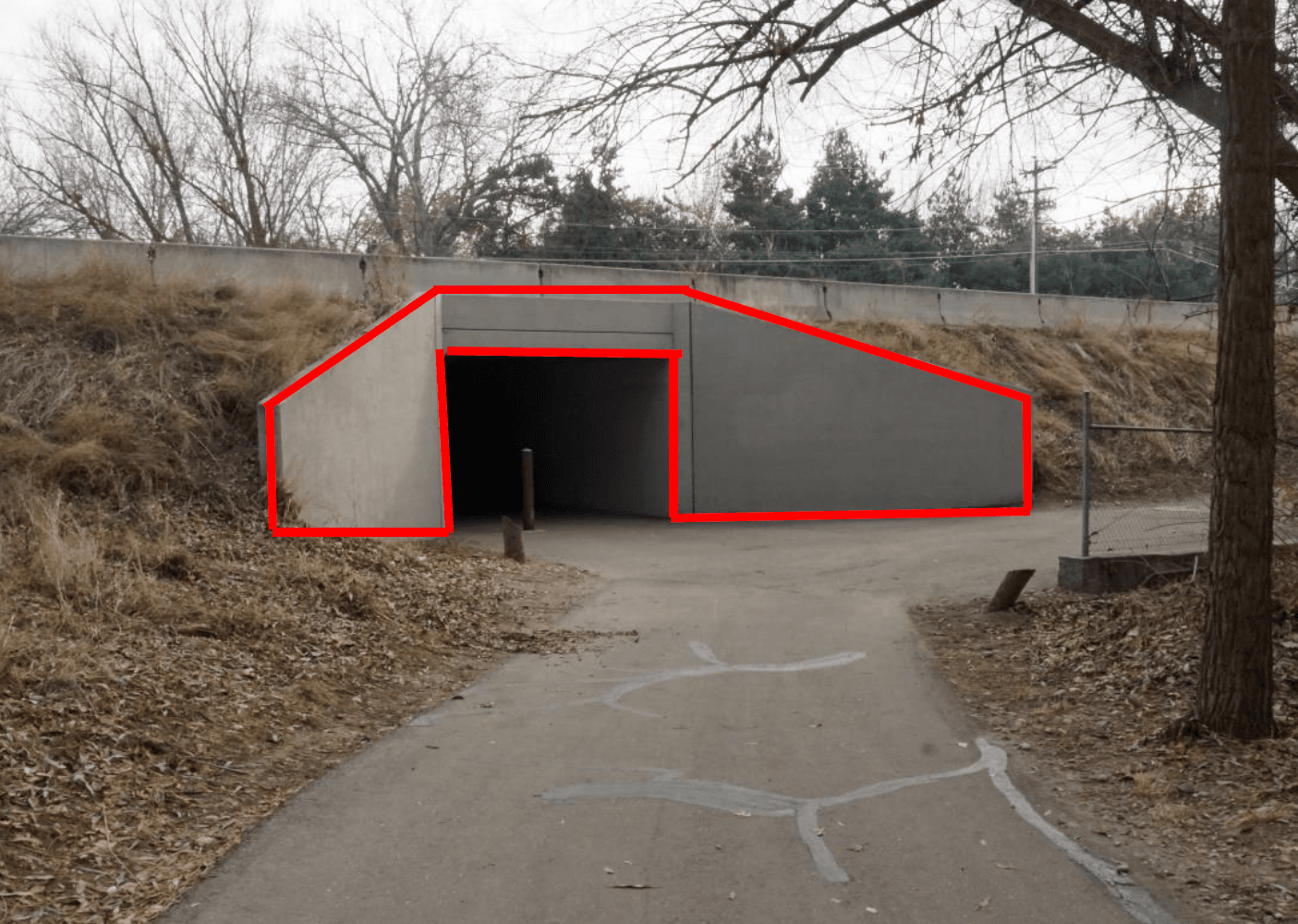 The west entrance to the greenbelt tunnel. The mural area is outlined in red.