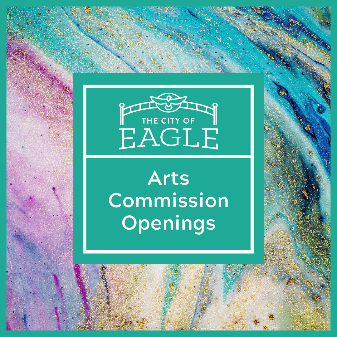 "Text says ""The City of Eagle Arts Commission Openings"" with an abstract painting in the backgr"