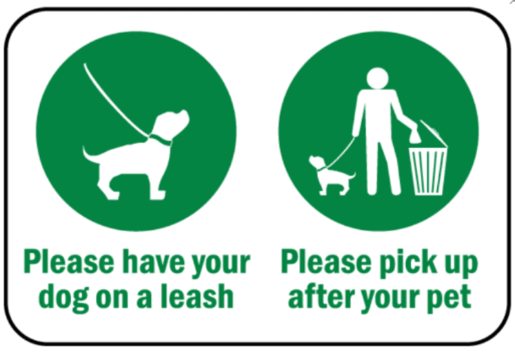 leash dogs and pick up after pets logo
