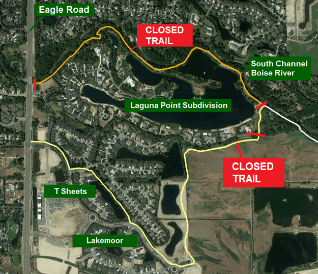Map shows a trail closure in the Lakemoor Subdivision.