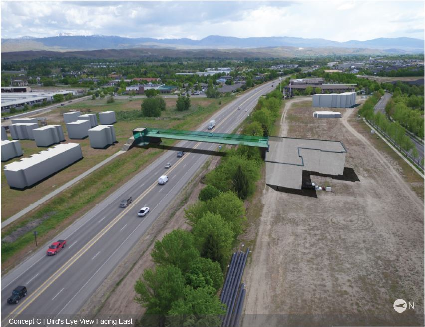 Highway 44 crossing concept with elevators