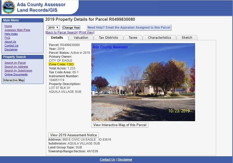 A screenshot of the Ada County Assessor's website, which shows the parcel information for Eagle C
