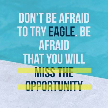 Dont Be Afraid to Try Eagle, Be Afraid That You Will Miss the Opportunity