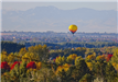 Aerial view of a Hot Air Balloon travelling over an Autumn Forest