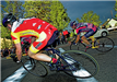 Angled shot of cyclists in a race