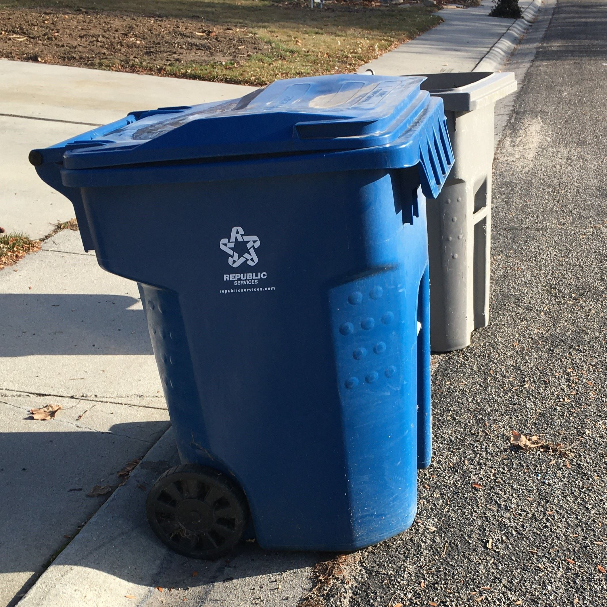 republic services trash can on a street in Eagle