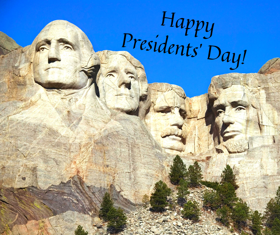 "Mount Rushmore and the words ""Happy Presidents' Day"""
