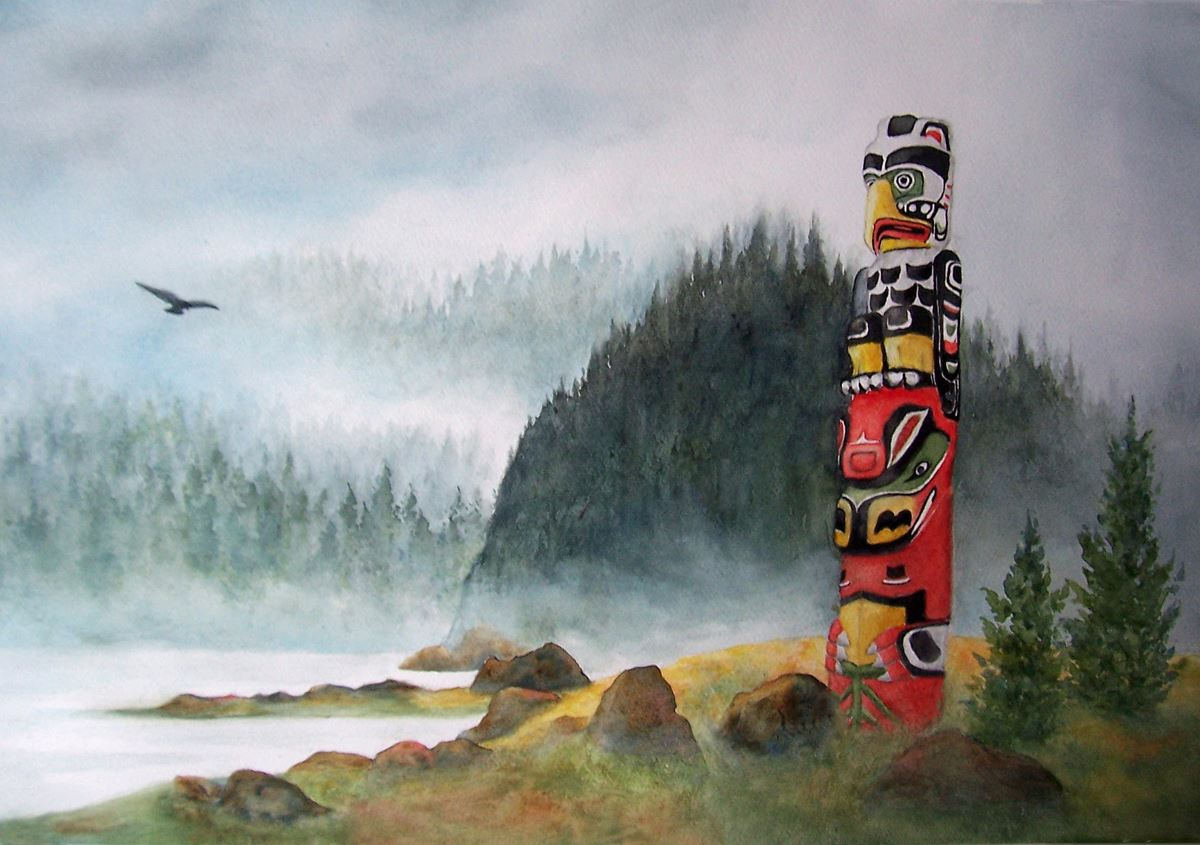 A painting of a colorful totem pole with misty mountains in the background.