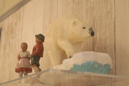 Wood Carvings of a Dutch Boy and Girl, and a Polar Bear