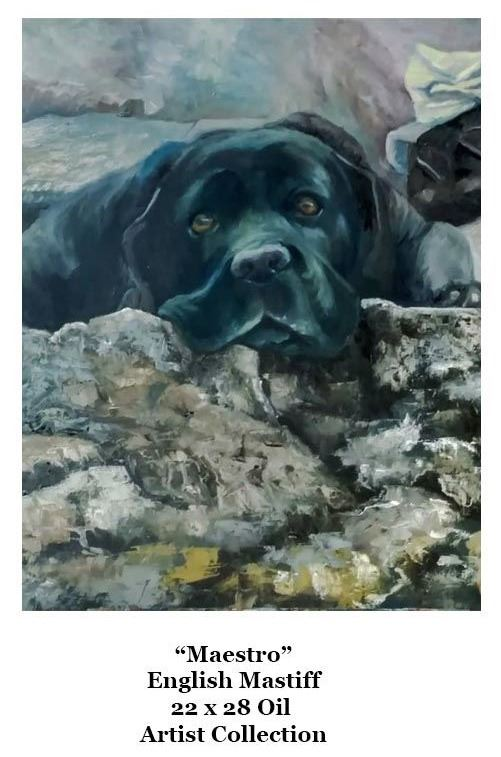 An oil painting of a black dog resting its head on some rocks.
