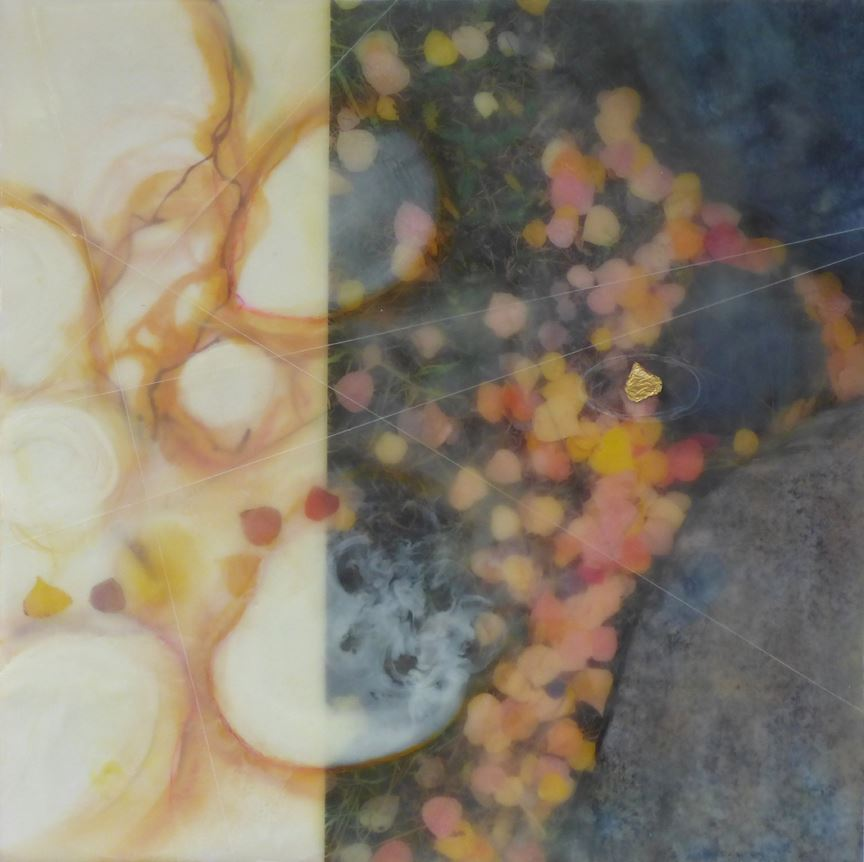 Abstract artwork that is bright on the left and dark on the right with swirling pink, orange, and ye