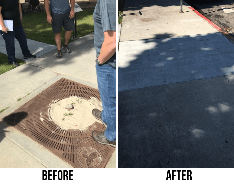 Before and after images of tree removal and sidewalk replacement near Sweet Tea